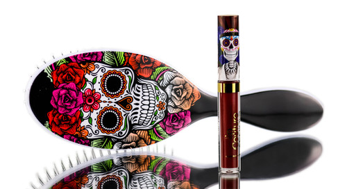 Sleekhair Red Rose Sugar Skull Brush & Lip Set