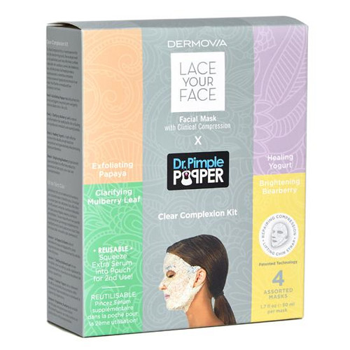 Dermovia Lace Your Face X Dr.Pimple Popper Facial Mask Clear Complexion Radiance Kit