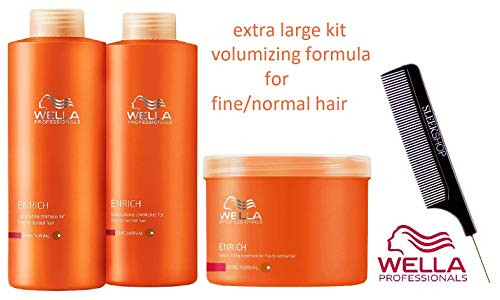 Wella ENRICH Volumizing SHAMPOO & Moisturizing CONDITIONER for FINE to NORMAL HAIR Set (with Sleek Steel Pin Tail Comb)
