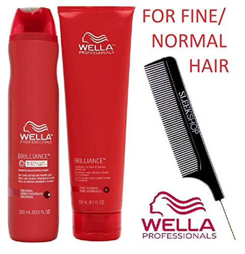 Wella BRILLIANCE Shampoo & Conditioner for FINE to NORMAL, COLORED HAIR Set (with Sleek Steel Pin Tail Comb)
