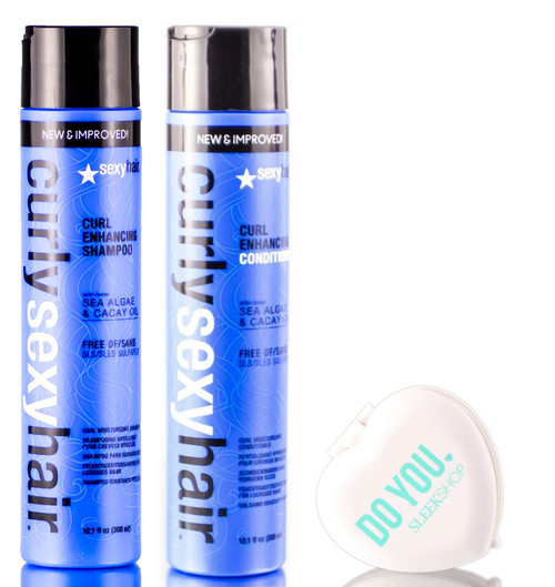 Curly Sexy Hair, Curl Enhancing Shampoo & Conditioner DUO Set, 2019 version with Sea Algae & Cacay Oil (with Sleek Compact Mirror)