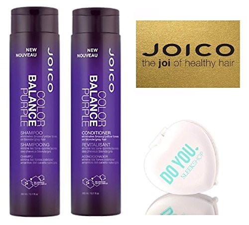Joico Color Balance PURPLE Shampoo & Conditioner DUO Set (with Sleek Compact Mirror)