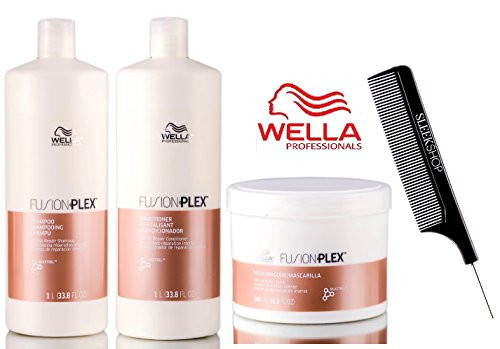 Wella FUSION PLEX Intense Repair Shampoo & Conditioner SET (with Sleek Steel Pin Tail Comb)
