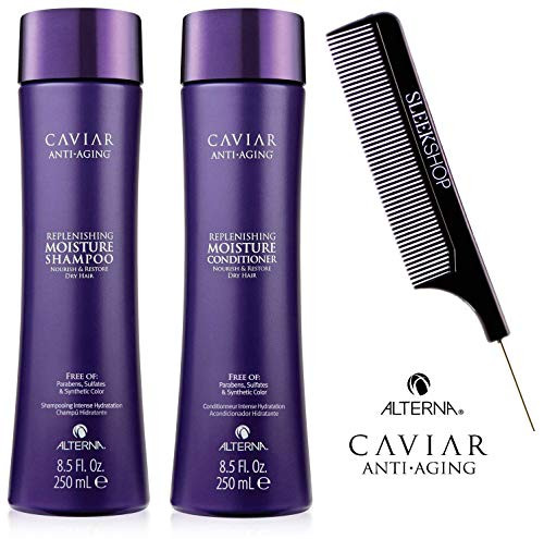 Alterna CAVIAR Anti-Aging REPLENISHING MOISTURE Shampoo & Conditioner DUO w/COMB