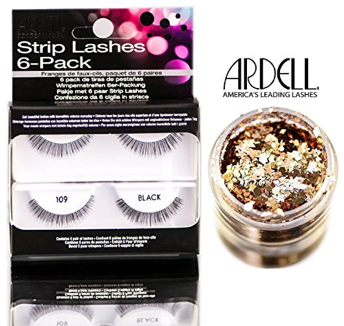 Ardell Professional STRIP LASHES 6-pack, Contains 6 pair of lashes W/ GLITTER