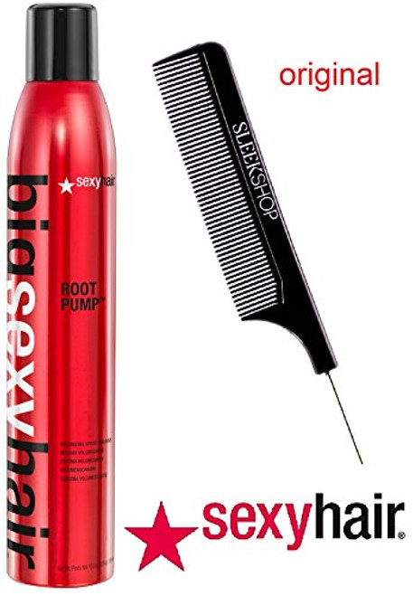 Big Sexy Hair ROOT PUMP Volumizing Spray MOUSSE (with Sleek Steel Pin Tail Comb)