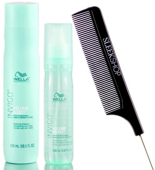 Wella Invigo Volume Boost Shampoo & Uplifting Hair Mist (W/ Sleekshop Comb)