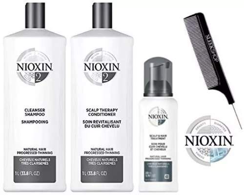 Nioxin System 2 LARGE STARTER KIT for Natural Hair & Progressed Thinning 3-piece TRIO Kit (with Sleek Steel Pin Tail Comb) (System 2 LARGE KIT)