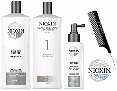 Nioxin System 1 LARGE STARTER KIT for Natural Hair & Light Thinning 3-piece TRIO Kit (with Sleek Steel Pin Tail Comb) (System 1 LARGE KIT)