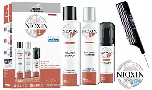 Nioxin System 4 STARTER KIT for Colored Hair & Progressed Thinning 3-piece TRIO Kit (with Sleek Steel Pin Tail Comb) (System 4 KIT)