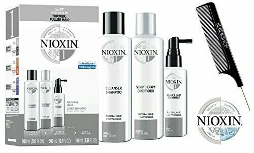 Nioxin System 1 STARTER KIT for Natural Hair & Light Thinning 3-piece TRIO Kit (with Sleek Steel Pin Tail Comb) (System 1 KIT)