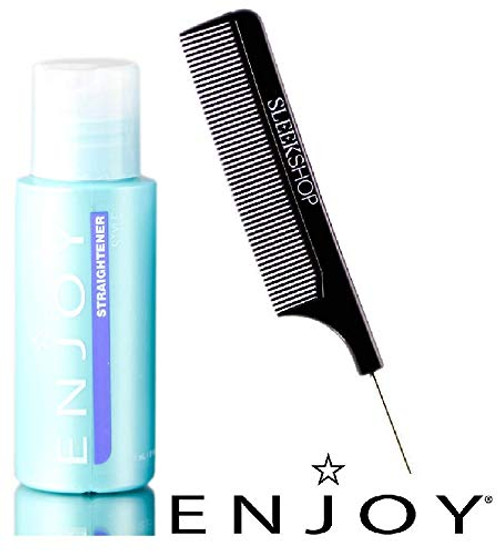 Enjoy STRAIGHTENER, Style - Straighten and Control Frizz, Coarse or Curly Hair (with Sleek Steel Pin Tail Comb) Straightening Gel