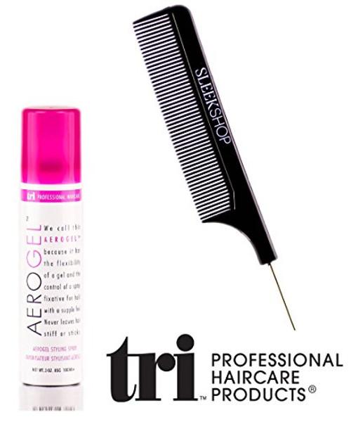 Tri Haircare Aerogel Hair Finishing Spray, aerosol hairspray (with Sleek Steel Pin Tail Comb)