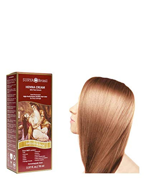 Surya Brasil All Natural HENNA Hair Color CREAM Dye Plant Extracts, Semi-Permanent for Grey Coverage (with Brush) Brazil