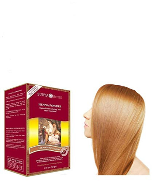 Surya Brasil All Natural HENNA Hair Color POWDER Dye, Coloring & Hair Treatment (with Brush) Brazil