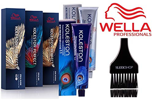Wella KOLESTON Perfect PERMANENT Creme Haircolor, 2 oz (with Sleek Tint Brush) Cream Hair Color Dye
