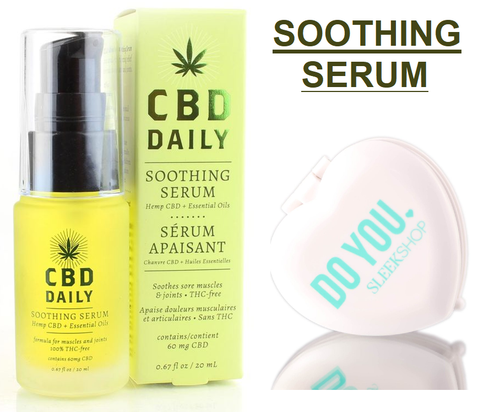 CBD Daily SOOTHING SERUM, Hemp CBD, Essential Oils, Soothes Sore Muscles, Joints (w/ Mirror)