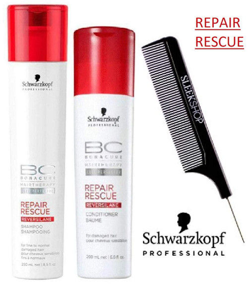 Schwarzkopf BC Bonacure REPAIR RESCUE SHAMPOO & CONDITIONER Duo SET w/SLEEK COMB