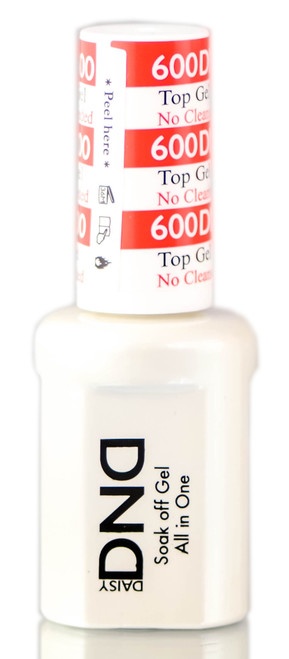 Daisy DND 600 TOP GEL, No Cleanser Needed, Soak off Gel NAIL All In One Top Coat for Nails