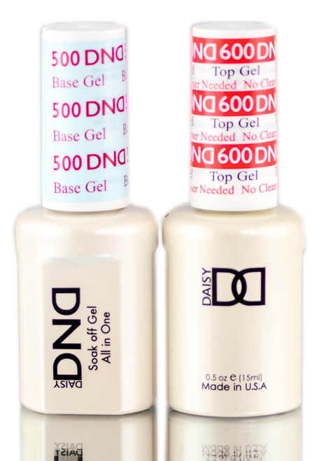 Daisy DND 500 Base Gel & 600 Top Gel (NO CLEANSER NEEDED) DUO SET, Soak off Gel All In One Base & Top Coat KIT for Nails