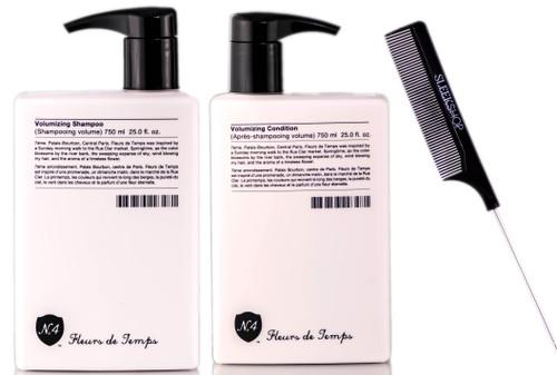 Number 4 Fleurs de Temps Volumizing Shampoo / Fleurs de Temps Volumizing Condition / Sleekshop PinTail Comb