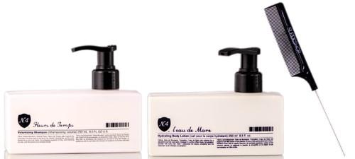 Number 4 Fleurs de Temps Volumizing Shampoo / L'eau de Mare Hydrating Body Lotion / Pin Tail Comb