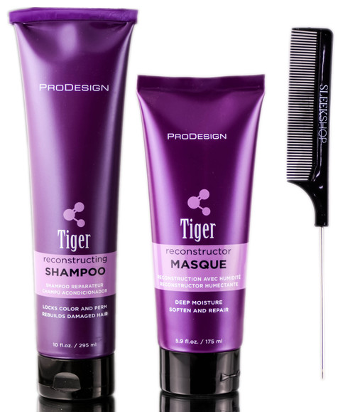 ProDesign Tiger Reconstructing Shampoo + Tiger Masque Reconstructor Deep Moisture + SleekShop Steel Pin Tail Comb