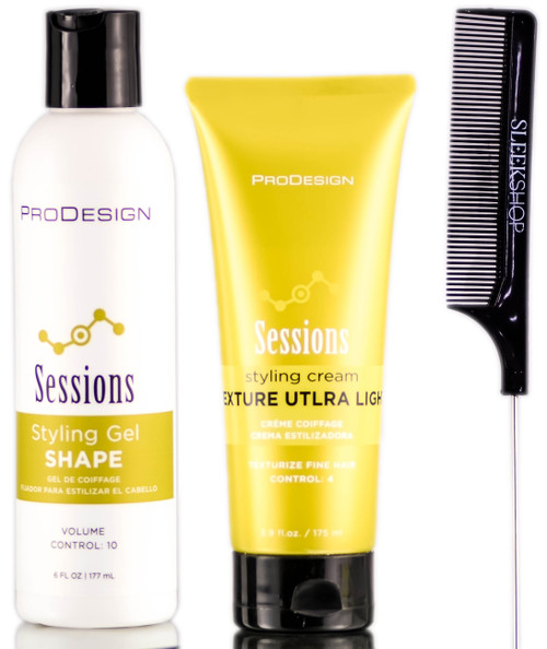 ProDesign Sessions Shape Styling Gel + Ultra Light Texture Styling Cream + SleekShop Steel Pin Tail Comb