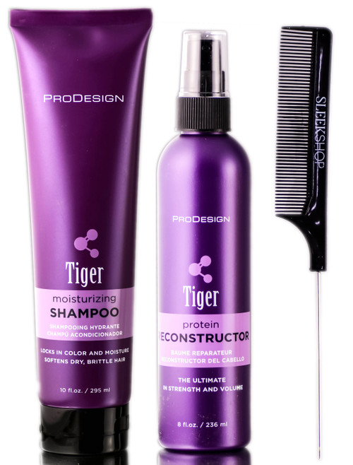 ProDesign Tiger Moisturizing Shampoo + Tiger Protein Reconstructor Spray + Pin Tail Comb