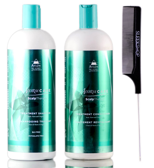 Avlon Affirm Care Scalp Therapy Treatment Shampoo + Conditioner + SleekShop Steel Pin Tail Comb Kit