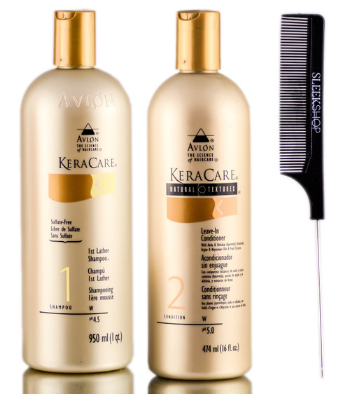 Avlon KeraCare 1st Lather Shampoo + Natural Textures Leave-In Conditioner + SleekShop Steel Pin Tail Comb Kit