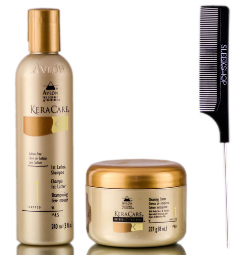 Avlon KeraCare 1st Lather Shampoo + Cleansing Cream + SleekShop Steel Pin Tail Comb Kit