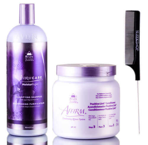 Avlon Affirm Moistur Right Clarifying Shampoo + Positive Link Conditioner + SleekShop Steel Pin Tail Comb Kit