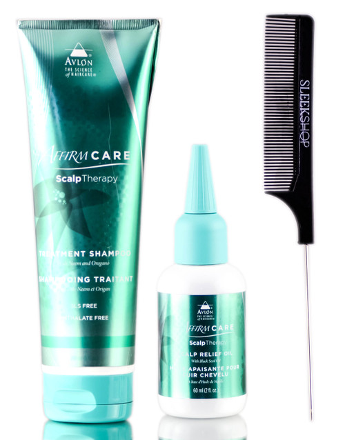 Avlon Affirm Care Scalp Therapy Treatment Shampoo + Scalp Therapy Relief Oil + SleekShop Steel Pin Tail Comb Kit