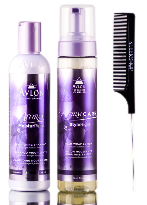 Avlon Affirm Moistur Right Nourishing Shampoo + Right Foam Wrap Lotion + SleekShop Steel Pin Tail Comb Kit