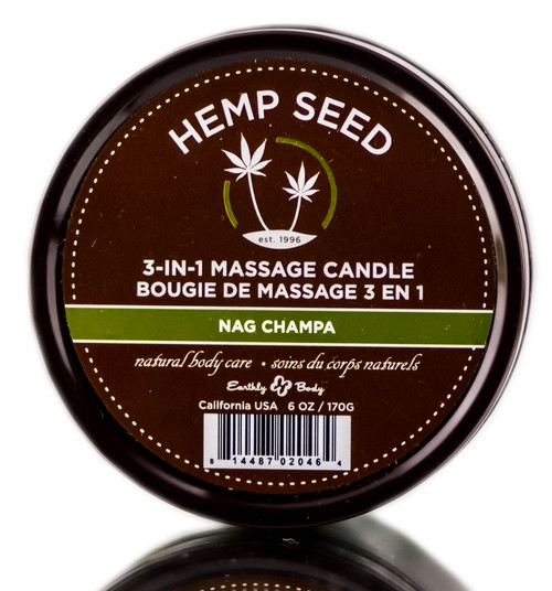 Earthly Body Hemp Seed 3-in-1 Massage Candle Nag Champa