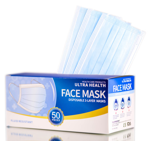 Health Care Products ULTRA HEALTH Disposable 3-Layer Face Masks, Fluid Resistant