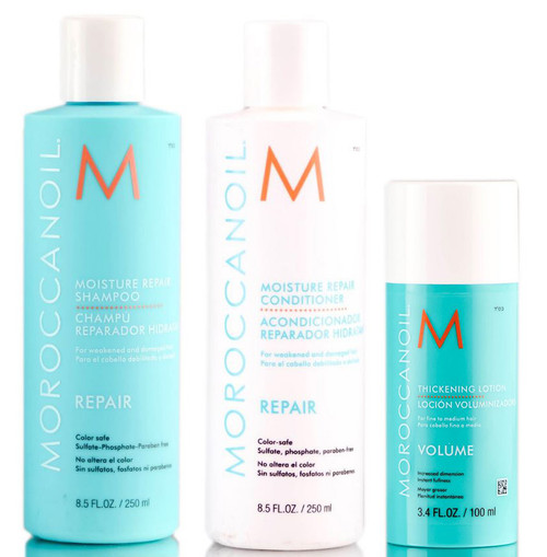 MoroccanOil Moisture Repair Shampoo & Conditioner & Thickening Lotion