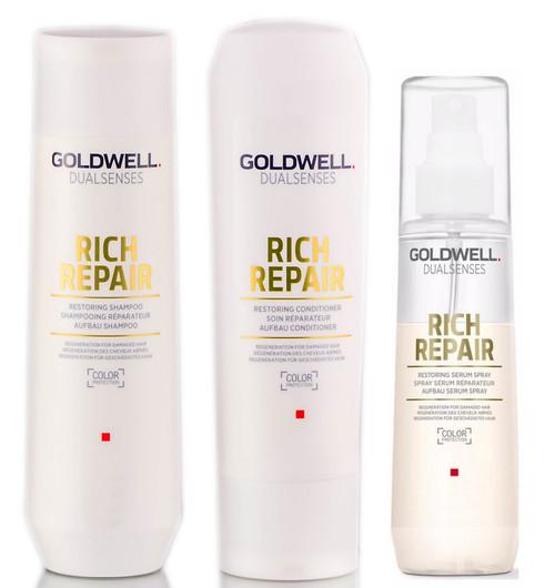 Goldwell Kit -Dualsenses Rich Repair Restoring Shampoo & Conditioner & Serum Spray