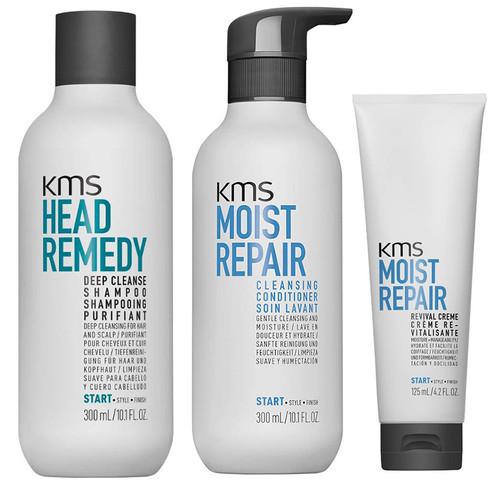 KMS Set - Deep Cleanse Shampoo & Moist Repair Cleansing Conditioner & Revival Cream