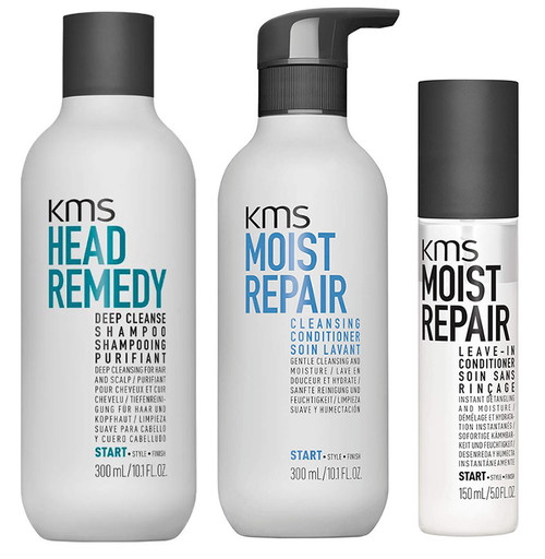 KMS Set - Deep Cleanse Shampoo & Moist Repair Cleansing Conditioner & Leave-in Conditioner