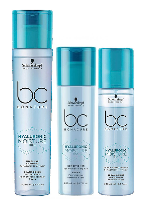 Schwarzkopf BC Bonacure Moisture Kick Shampoo, Conditioner, and Spray Conditioner