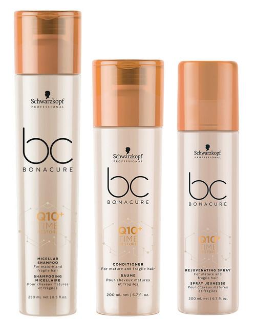 Schwarzkopf BC Bonacure Q10 Time Restore Shampoo, Conditioner & Rejuvenating Spray
