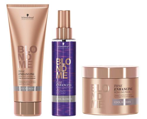 Schwarzkopf BlondMe Cool Blonde Bonding Shampoo, Mask & Spray Conditioner