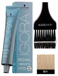 8e9aa13747c Schwarzkopf IGORA Royal HIGHLIFTS Permanent Hair Color Creme Dye 12-1 w/  BRUSH