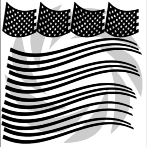 Waving Flag Pistol Stencil Pack