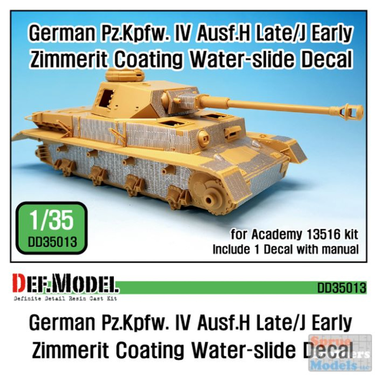 DEFDD35013 1:35 DEF Decal - Panzer IV Ausf.H Late / J Early Zimmerit Coating Water Slide Decal Sheet (ACA kit)