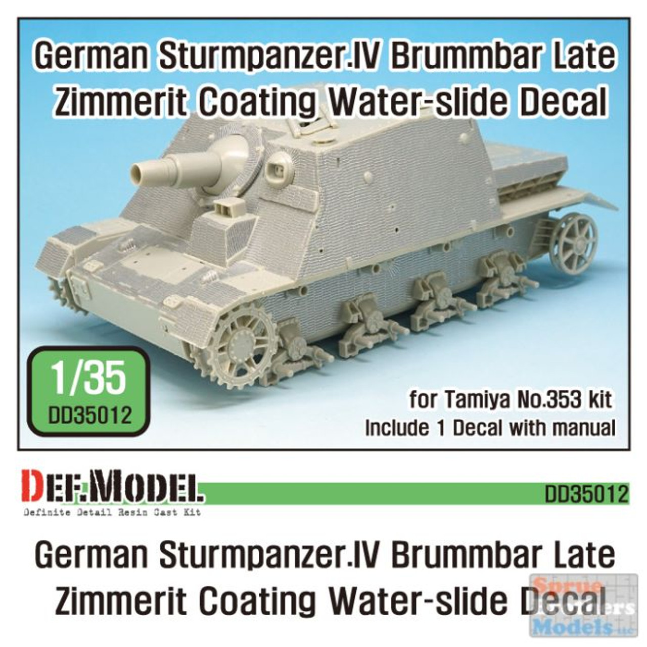DEFDD35012 1:35 DEF Decal - Brummbar IV Late Production Zimmerit Coating Water Slide Decal Sheet (TAM kit)
