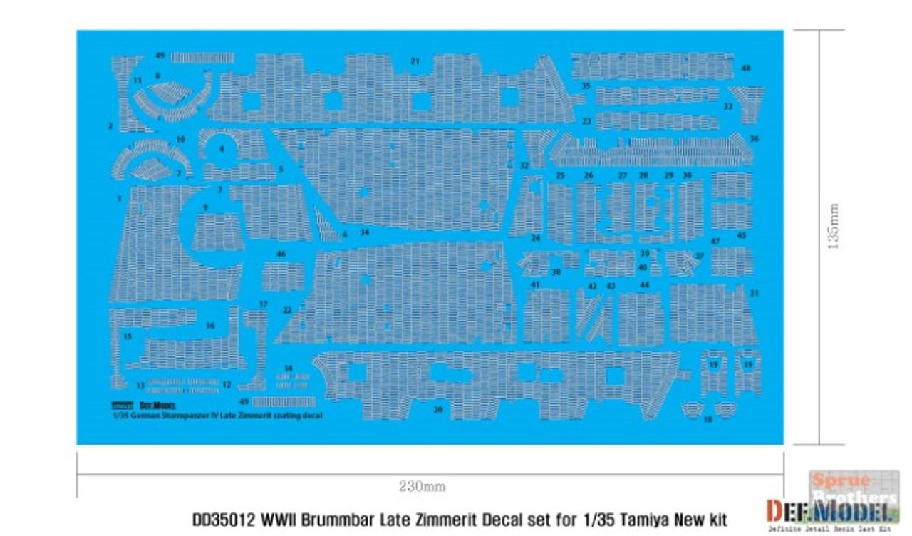 DEFDD35012 1:35 DEF Decal - Brummbar IV Late Production Zimmerit Coating Water Slide Decal Sheet (TAM kit)
