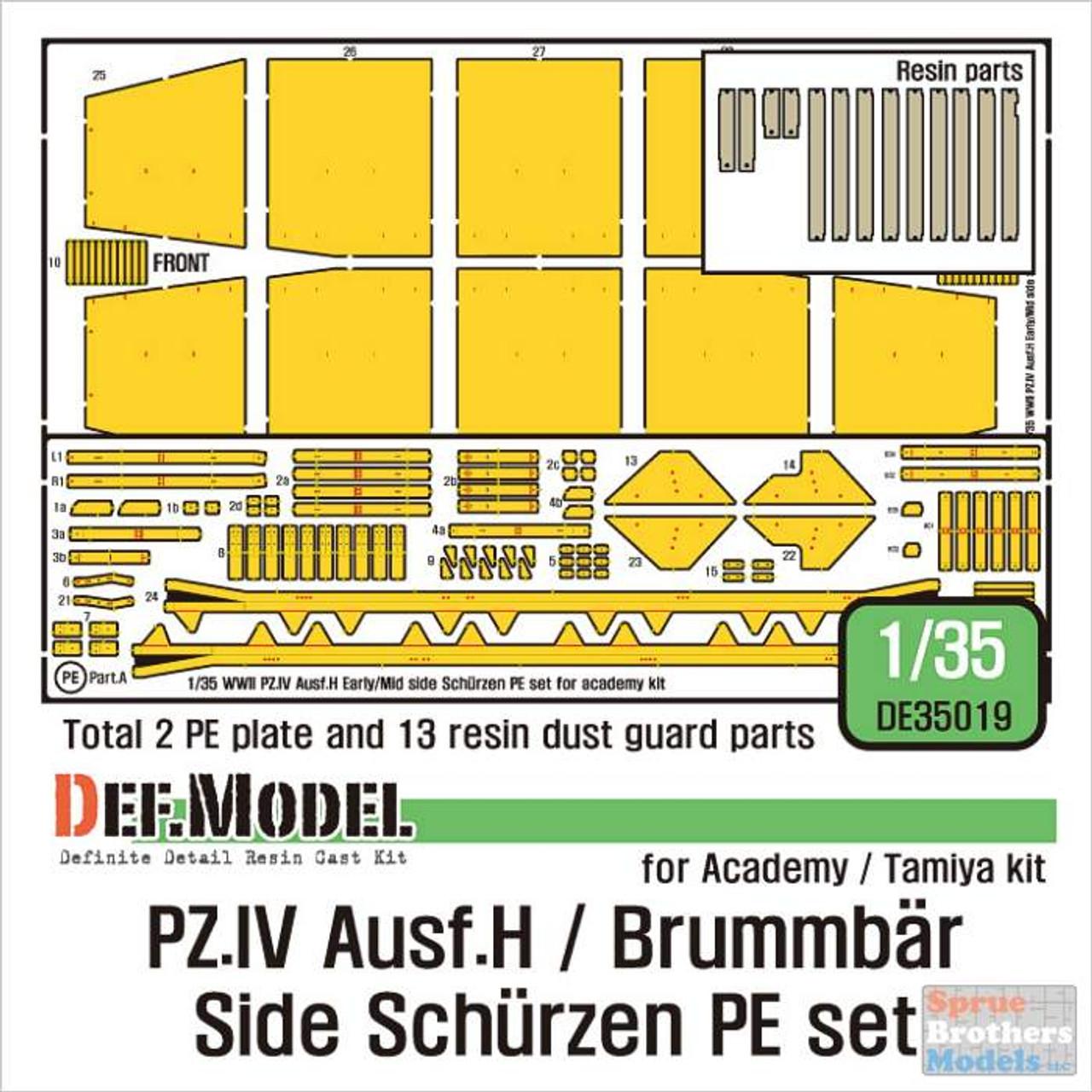 DEFDE35019 1:35 DEF Model Panzer.IV Ausf.H / Brummbar Side Schurzen PE Set (ACA/TAM kit)